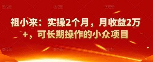 祖小来:实际操作2个月,月盈利2万,可长久使用的冷门新项目